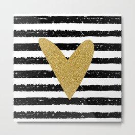 Heart on stripes Metal Print
