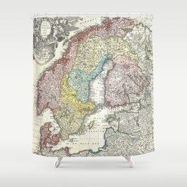Vintage Map of Scandinavia (1730)  Shower Curtain