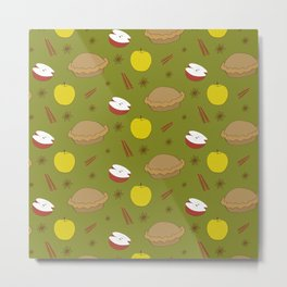 Sweet pattern with apple and cinnamon and pie Metal Print