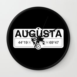 Augusta Maine GPS Coordinates Map Artwork with Compass Wall Clock