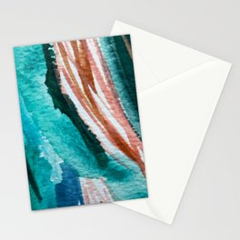 Here's to the Dreamers: a minimal, watercolor abstract piece in pinks, green, blue, and white Stationery Cards