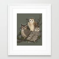 owls Framed Art Prints featuring Owls by Jessica Roux