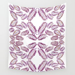 Watercolor pink leaves symmetry pattern Wall Tapestry