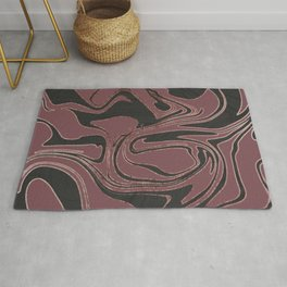 Chic Burgundy Black Rose Gold Liquid Marble Rug