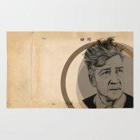 david lynch Area & Throw Rugs featuring David Lynch Globe by Ruth Hannah