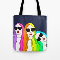haim Tote Bags featuring HAIM by Neon Wonderland