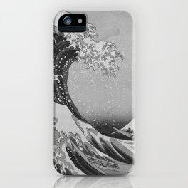 Black & White Japanese Great Wave off Kanagawa by Hokusai iPhone Case