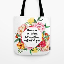 No Fear in Floral Tote Bag