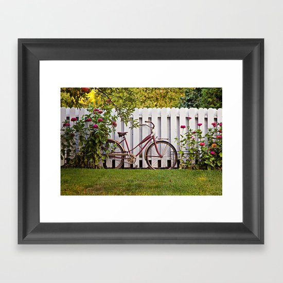 Bike with Fence & Flowers Framed Art Print