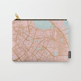 Pink and gold Hanoi map, Vietnam Carry-All Pouch