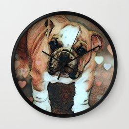 English Bulldog Puppy with Hearts Wall Clock