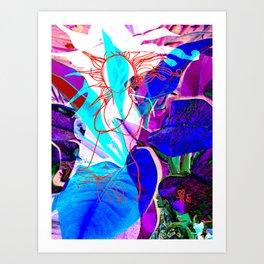 Floral Redline Lady Art Print