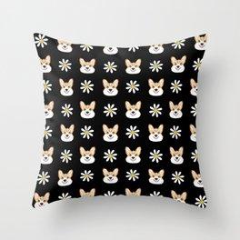 Corgi welsh corgi daisy flowers spring summer florals dog breed pet portrait by pet friendly Throw Pillow