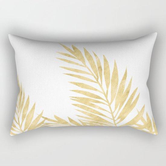Palm Leaves Golden Rectangular Pillow