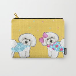 Bichon Frise Holidays yellow cute dogs, Christmas gift, holiday gift, birthday gift, dog, Bijon Carry-All Pouch