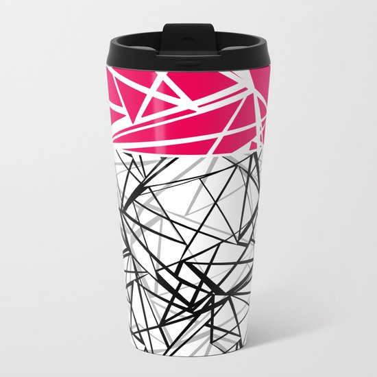 Black and white abstract geometric pattern with red inlay . Metal Travel Mug