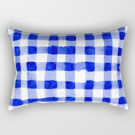 Handpainted Classic Gingham Pattern Blue Rectangular Pillow