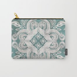 Teal and grey dirty denim textured boho pattern Carry-All Pouch