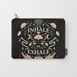 Breathe, inhale exhale yogi zen master poster black Carry-All Pouch