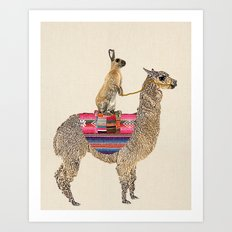 Forward - Alpaca with hare Art Print