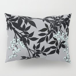 TREE BRANCHES BLACK AND GRAY WITH BLUE BERRIES Pillow Sham