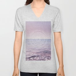 Blissful Ocean Dream Mandala #1 #pastel #wall #decor #art #society6 Unisex V-Neck
