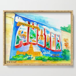 Greetings From Austin Mural watercolor Serving Tray