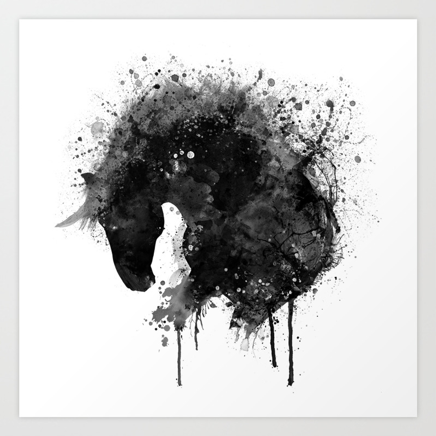 Black and white horse head watercolor silhouette art print