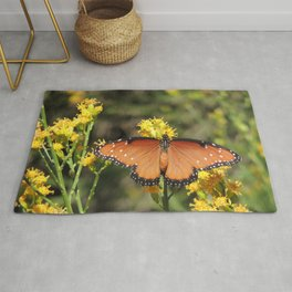 Queen Butterfly on Rubber Rabbitbrush in Claremont CA Rug