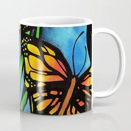 Beautiful Monarch Butterflies Fluttering Over Palm Fronds by annmariescreations Coffee Mug