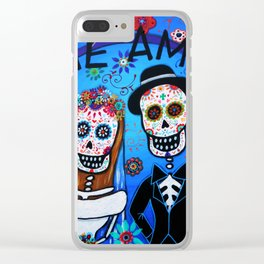 DAY OF THE DEAD WEDDING COUPLE LOVE PAINTING Clear iPhone Case