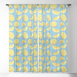 Lemon Slices and Wedges on blue Sheer Curtain