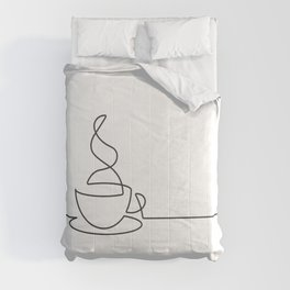 Single Line Coffee Cup Illustration Comforters