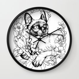 Color-Me Feline: Siamese Wall Clock
