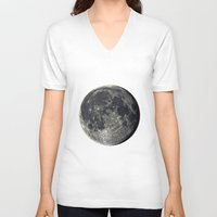 the moon V-neck T-shirts featuring Moon by Pete Baker