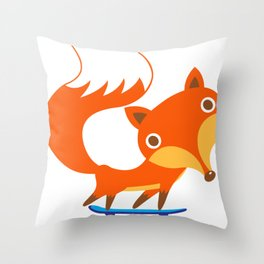 Fox loves skateboard Throw Pillow
