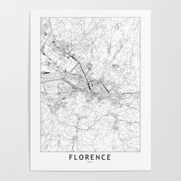 Florence White Map Poster