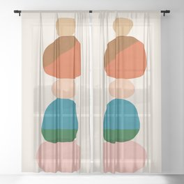 Abstraction_Rocks_Balance_Minimalism_001 Sheer Curtain
