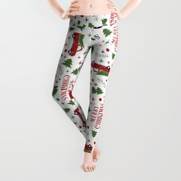 Merry Christmas Red Vintage Truck with Tree Leggings