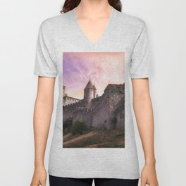 Historically Charged Carcassonne Castle France Ultra HD Unisex V-Neck