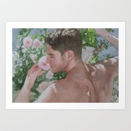 Mike with Roses Art Print