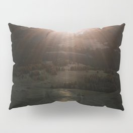 Aerial of a Lone Tree at the Alpe di Siusi Dolomites - Landscape Photography Pillow Sham