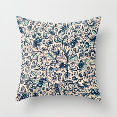 Teal Garden - floral doodle pattern in cream & navy blue Throw Pillow