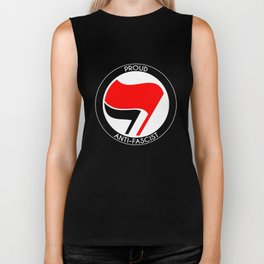 Proud Antifascist (white border) Biker Tank