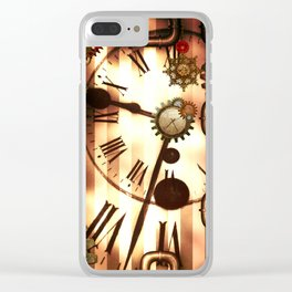 Steampunk, clocks and gears, vintage design Clear iPhone Case