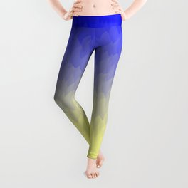 Sky and Sun -- Blue yellow ombre flames Leggings