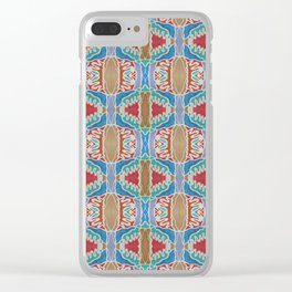 Blue Coral Tan Acrylic Pattern Clear iPhone Case