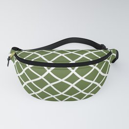 Olive green and white curved grid pattern Fanny Pack