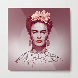 Frida Kahlo Low Poly Portrait Metal Print