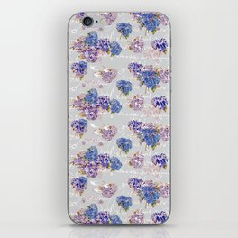 Hydrangeas and French Script with birds on gray background iPhone Skin
